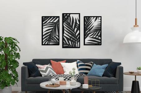 3 set palm tree wall art